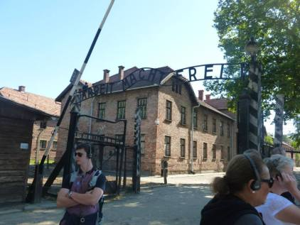 The famous entrance to Auschwitz.
