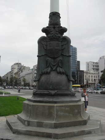 The symbol of Serbia on a lamppost outside the Parliament building. Severe and stern.