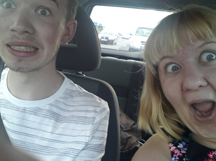 Not at all unsafe motorway selfie on our way to Canterbury.
