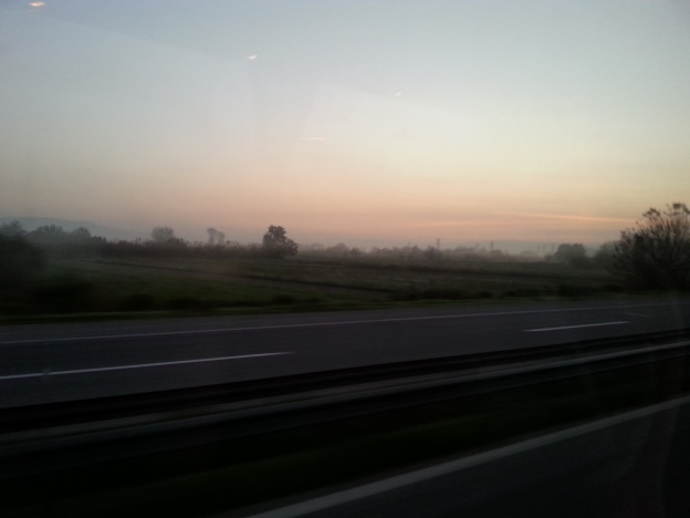 Sunrise over the Macedonian motorway.