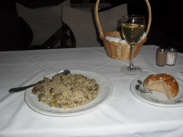 Food BLISS - pilaf rice, fresh bread and retsina.