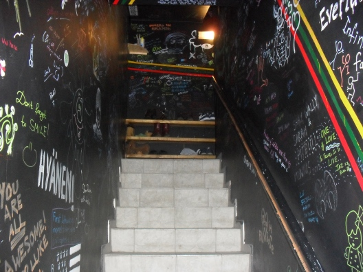 The staircase up into Jimmy Jump's Hostel