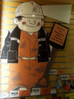 Maurice the Miner, the NCM's friendly mascot.