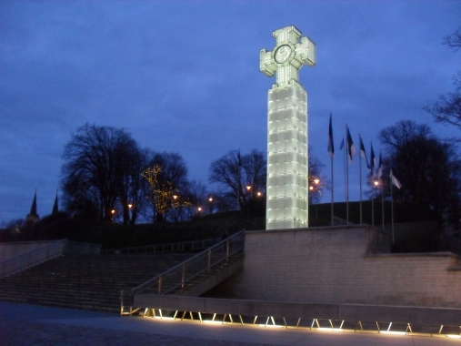 Freedom Monument by night.