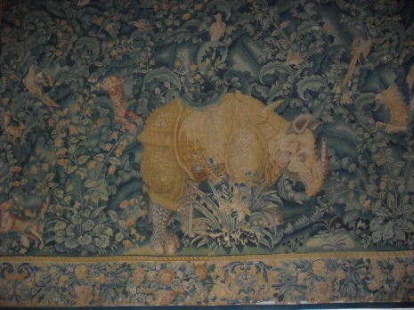 A tapestry of a rhino at Kronborg Castle