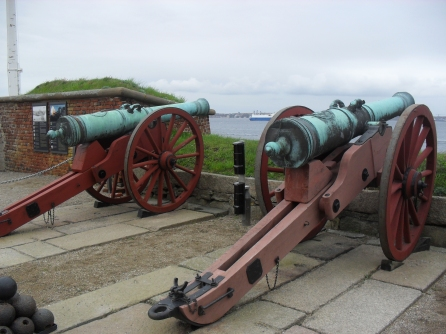Cannons pointed at Sweden, across the water