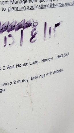 Ass House Lane has no sign, but there was a planning permission sheet stuck to a pole nearby! Proof! It exists!